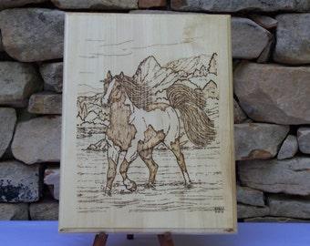 Stallion Wild and Free Woodburning Pyrography