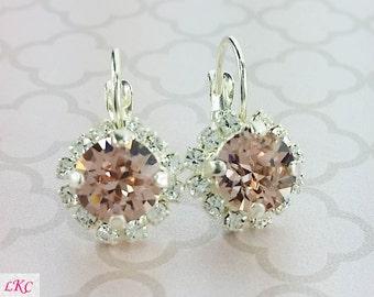 Blush Pink Earrings Blush Pink Bridesmaid Jewelry Soft Pink Earrings Crystal Wedding Earrings Bridal Jewellery Bridesmaid Jewellery Diamante