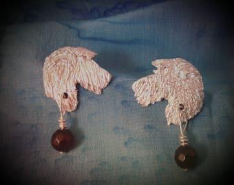 Irish Wolfhound Fine Silver Earrings Beaded