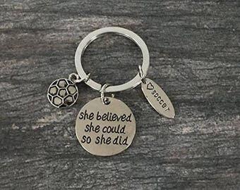 Soccer Keychain- Girls Soccer Charm Key chain, Soccer Gift, Soccer Jewelry - Perfect Gift For Soccer Players, Soccer Teams & Soccer Coaches