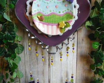 Frühling Windspiel in Pastellfarben geschichtet 3D Stück mit Glasmalerei Glockenspiel Schmelzglas Stürmer