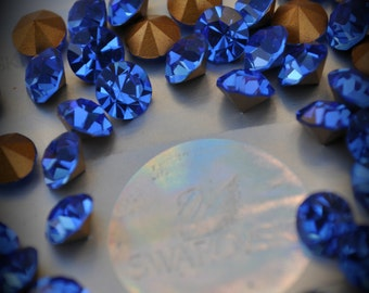 1100 34ss Genuine Swarovski Crystals Sapphire Rounds Foiled Rhinestones 20pcs