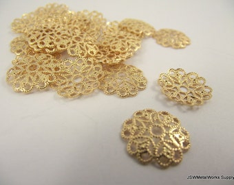 Gold Plated Filigree Rounds, 15mm, 50 Pieces