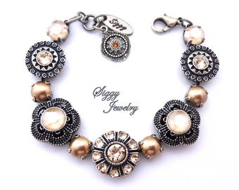 Swarovski Crystal Bracelet, Neutrals, Beige, Tan, Ivory Cream, Bronze Pearls, Fancy Flower Clusters, Antique Silver NEUTRALITY ROCKS