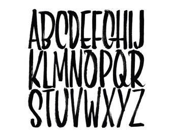 Square brush script alphabet print