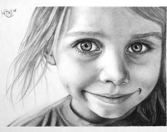 Pencil Drawing Custom Portrait ~ Hand Drawn Personalized Art ~ One Person Head and Shoulders 9x12 ~ Black and White ~ FREE SHIPPING