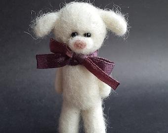 Felt Dog,Soft Dog Brooch,Needle Felt Pet,Hand Made Animal,Natural Wool,Dog Sculpture