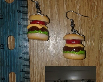 Polymer Clay Hamburger Earrings Chef Gift