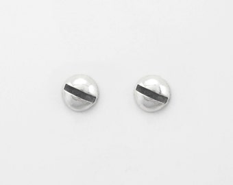 SILVER Slotted SCREW Stud Earrings for Men and Women. Medium Sterling SILVER Earrings. Hardware Silver Jewelry. Polished Slotted Screw Head.