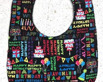 Happy Birthday Baby Bib - Toddler - infant- dribble bib - Birthday Cake - Party - handmade - baby gift