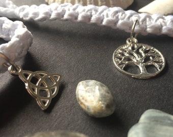 White Cord Charm Bracelet