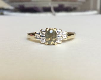 Natural Russian ALEXANDRITE and diamond ring 10k yellow gold