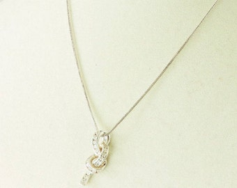 """Sterling Silver And 1.04cttw DQ Cubic Zirconia Knot Pendant Necklace 20"""""""