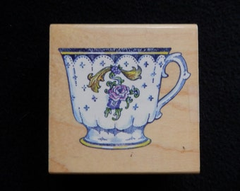 Teacup stamp - tea - thank you - friendship - WM rubber stamp (1)