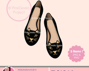 Kitty Flats - printable illustration, clipart, wallart, PNG, for personal & small commercial use