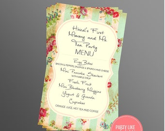 PRINTABLE Mommy & Me Tea Party Menu (Customizable)