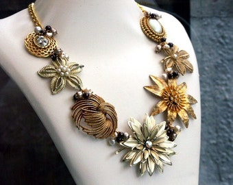 COCO Vintage Gold and Cocoa Statement Necklace - An Original Design Handmade By Katherine Cooper- Cream, Coco, and Gold