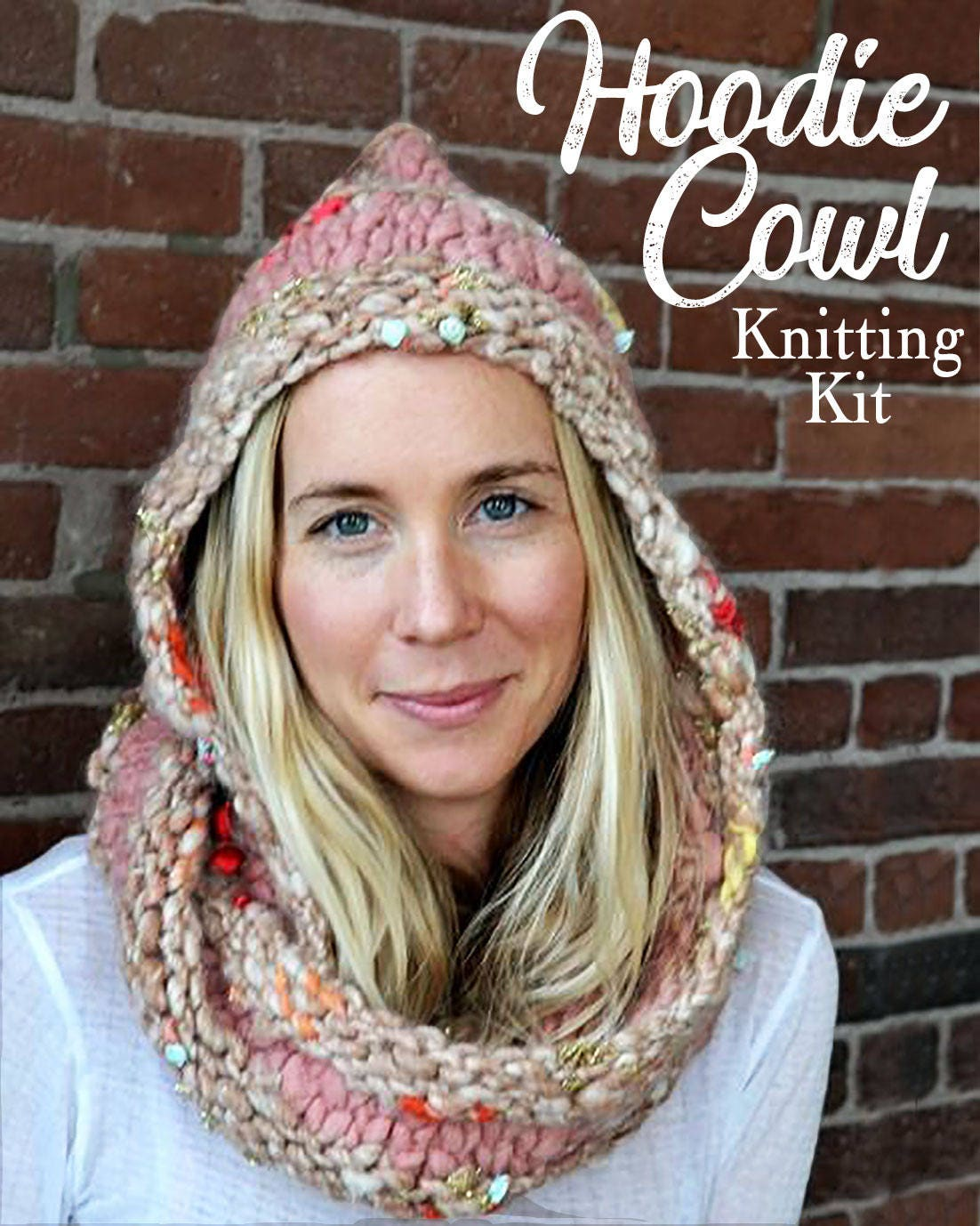 Hooded Cowl Pattern, Knitting Kit, Bulky Hooded Scarf, Womens ...