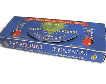 Christmas Lights, Vintage Christmas, Indoor Lighting, Paramount, Raylite Product, GE Bulbs, Green Cap, Kliptons, Working, 1940