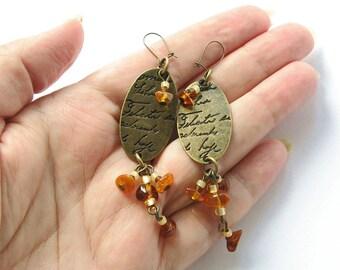 Bronze Dangle Earrings, Raw Baltic Amber Earrings, Natural Amber Earrings, Gemstone Earrings, minimalist earrings, honey yellow earrings