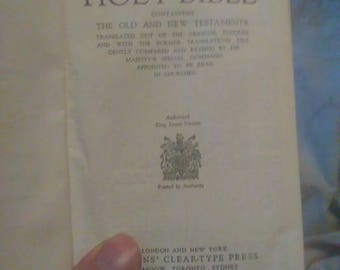 Vintage Holy Bible Authorized King James Version Collins Clear Type Press White Leather Binding
