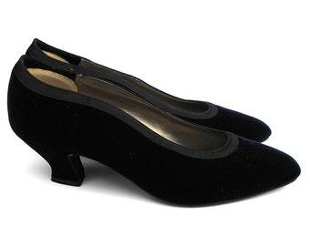 Sapphire Velvet Louis Heels 70s Vintage Vamp Designer Nina Edwardian Style Dark Navy Blue Pumps Retro Chic Formal Evening Ladies Court Shoes