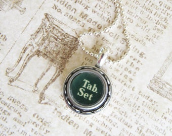 The Tab Set Vintage Typewriter Key Necklace Pendant
