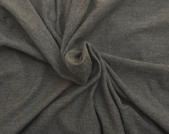 """Heather Olive Gray Cotton Fabric Jersey Knit by the Yard 63"""" W 6/16"""