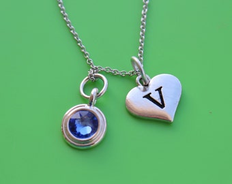 HEART INITIAL & BIRTHSTONE stainless steel Necklace,initial or number,heart,initial,monogram,number,personalized,letter,heart initial