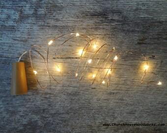 LED Wine Bottle Cork Lights, Battery Operated Fairy Lights, Rustic Wedding Decor, Room Decor, 6.6 ft, Warm White Copper Strand String Lights