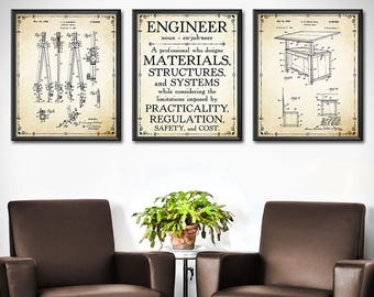 Wall Decor Office. Engineer Gift   Set Of 3 Gifts For Mechanical  Engineering Wall Decor