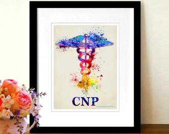 """Certifié infirmière praticienne CNP aquarelle - caducée, 8.5 """"x 11», médical Art déco, cadeau de graduation infirmière praticienne, certification NP imprimer"""