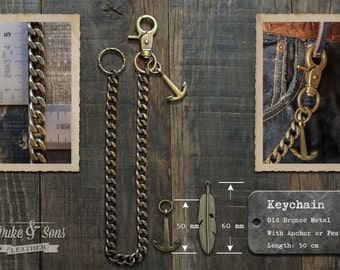Old Bronze Wallet Key Chain (50cm) with Anchor or Feather