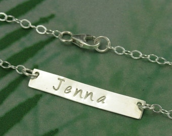 Name Bar Necklace~Personalized Necklace~Custom Name Necklace~Hand Stamped Silver~Name Bar~Trendy Bar Necklace~Stylish Name Bar~Silver Bar
