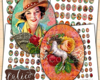 Gypsy CowGirl, Digital, Collage Sheets, Printable, Oval Images, 30x40mm, 22x30mm, 18x25mm, 13x18mm, Printable Ephemera, Oval Collage Sheet
