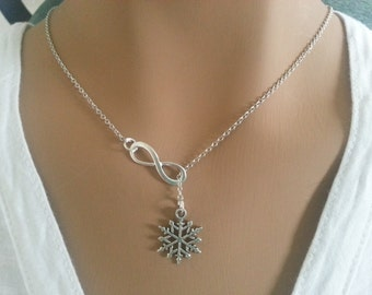 Snowflake  And Infinity Lariat Necklace