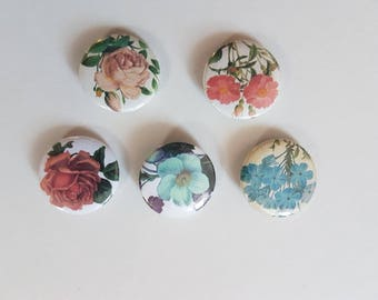 flowers button badges, set of 5