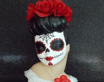 Dia de los Muertos, Day of the Dead Custom Painted Pinup Head Vase