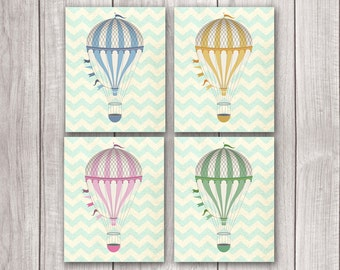 Hot Air Balloon Prints (Set of 4) - 8x10 Nursery Art, Hot Air Balloon Art, Home Decor, Nursery Decor, Printable Art, Wall Art
