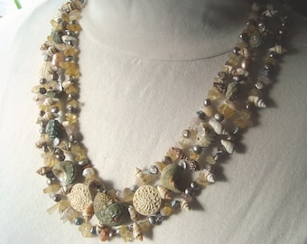 Tri-Strand Shell Necklace - Art Nouveau, Pale Green, Pastels, Seashore, Sea Shells, Beach, Natural, Freshwater Pearl, Boho, Island