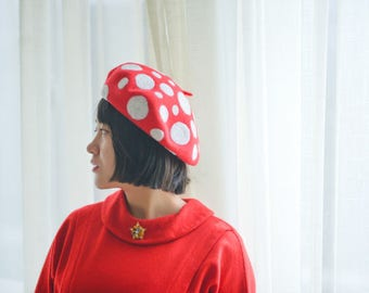 Needle Felted French Beret Hat Inspired by Polka Dots by Yayoi Kusama