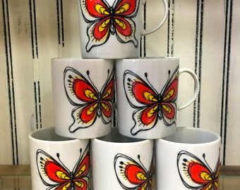 Vintage 1960's Set of 6 Red Yellow Black White Butterfly Mugs (Made in Japan)