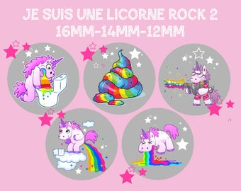 """Digital images - cabochon - jewelry - scrapbooking - collage """"I'm a Unicorn rock 2"""" 16mm - 14mm - 12 mm"""