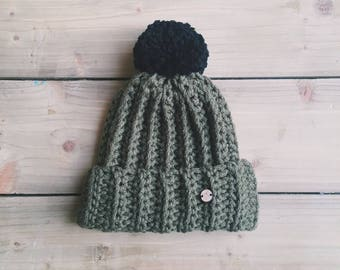 Khaki olive green black chunky knit bobble hat crochet adults handmade