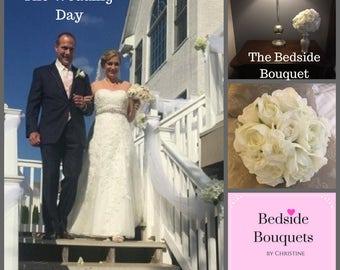 All White Wedding Bouquet with White Roses, white spray roses, and gardenias