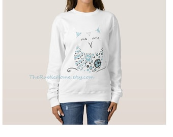 Snow owl sweatshirt size small med large 2x 3x soft cozy cotton white teal blue winter owl custom sweatshirt womens clothing rustic home