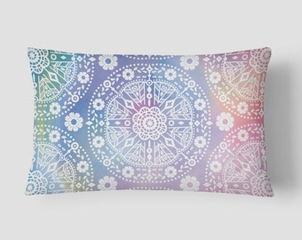 Bohemian Pillow, Boho Lumbar Pillow, Colorful Cushion, 14x20 Cushion Cover, Purple Blue Cushion, Cover and Insert, Decorative Pillow, Floral