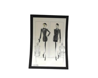 Air Hostess Uniform Fashion Sketch. Fashion Designer Drawing of Little Black Dress.
