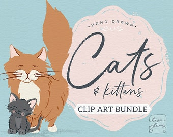 Cat clipart, filled with digital graphics of cute cats like siamese fluffy short hair calico perfect for cat lover projects, vector graphics