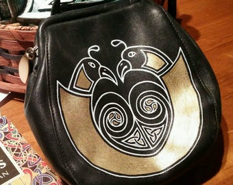 Liz Claiborne Genuine Leather Corssbody bag, Reimagined with Custom Celtic Knotwork, Black w/gold and white artwork by Wes Connell